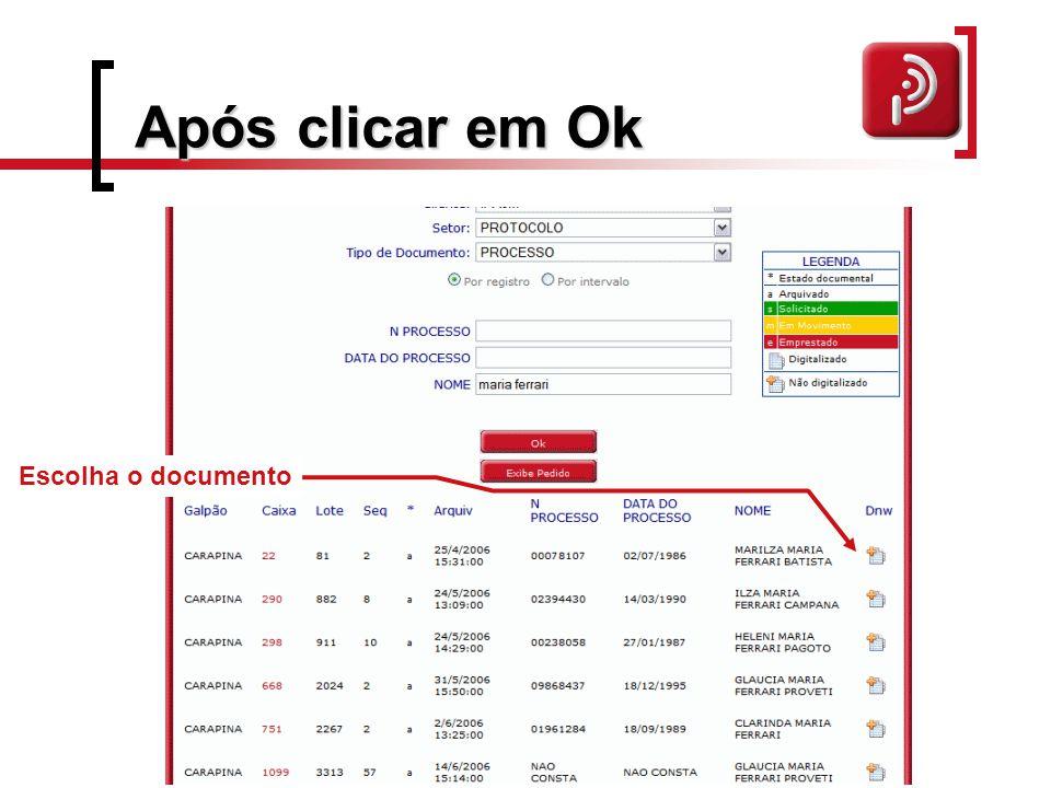 Após clicar em Ok Escolha o documento