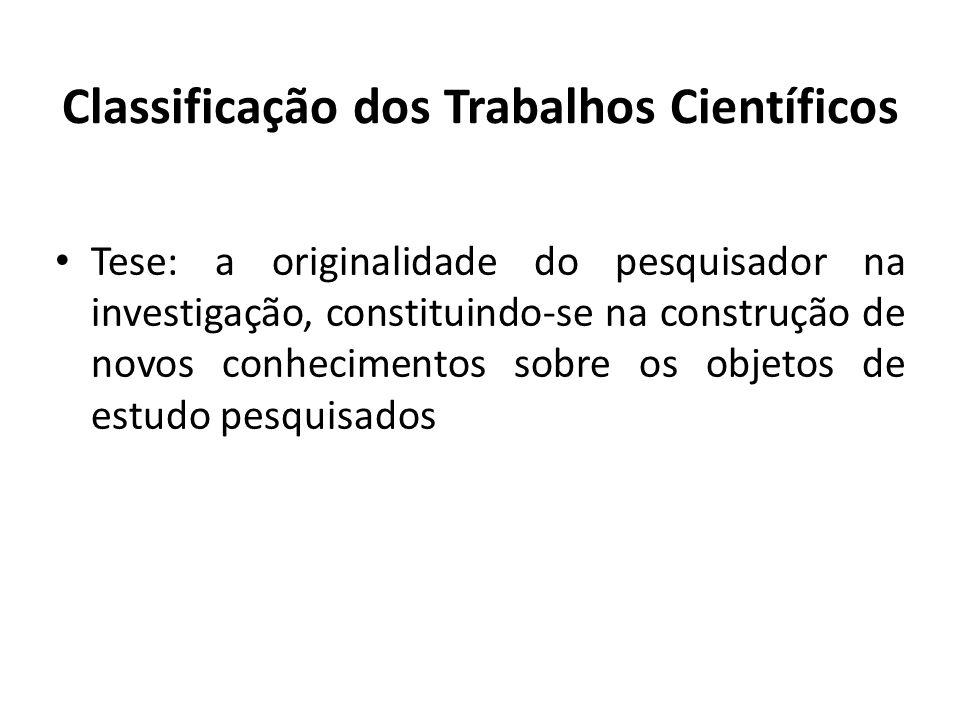 Classificação dos Trabalhos Científicos