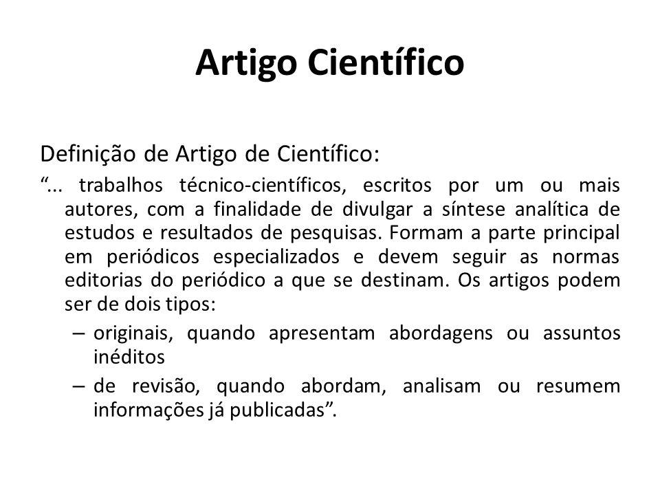 Artigo Científico Definição de Artigo de Científico: