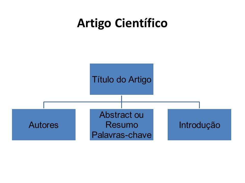 Artigo Científico Título do Artigo Autores Abstract ou Palavras-chave