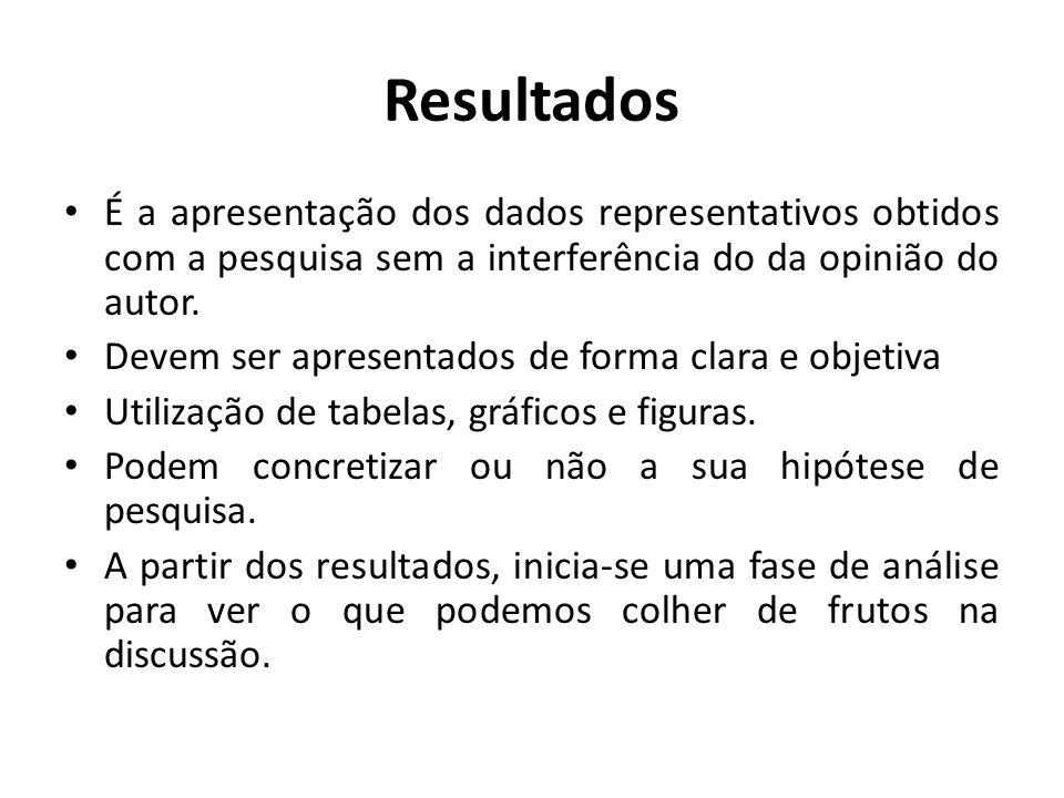 ResultadosÉ a apresentação dos dados representativos obtidos com a pesquisa sem a interferência do da opinião do autor.