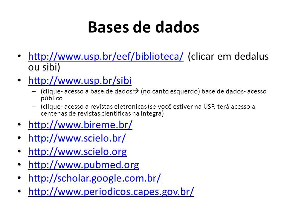 Bases de dadoshttp://www.usp.br/eef/biblioteca/ (clicar em dedalus ou sibi) http://www.usp.br/sibi.