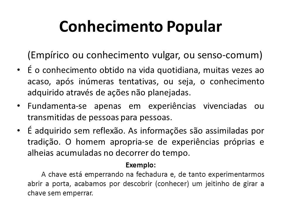 Conhecimento Popular (Empírico ou conhecimento vulgar, ou senso-comum)