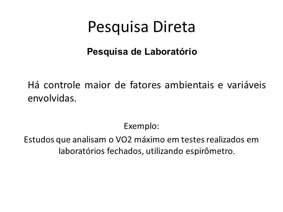 Pesquisa DiretaPesquisa de Laboratório. Há controle maior de fatores ambientais e variáveis envolvidas.
