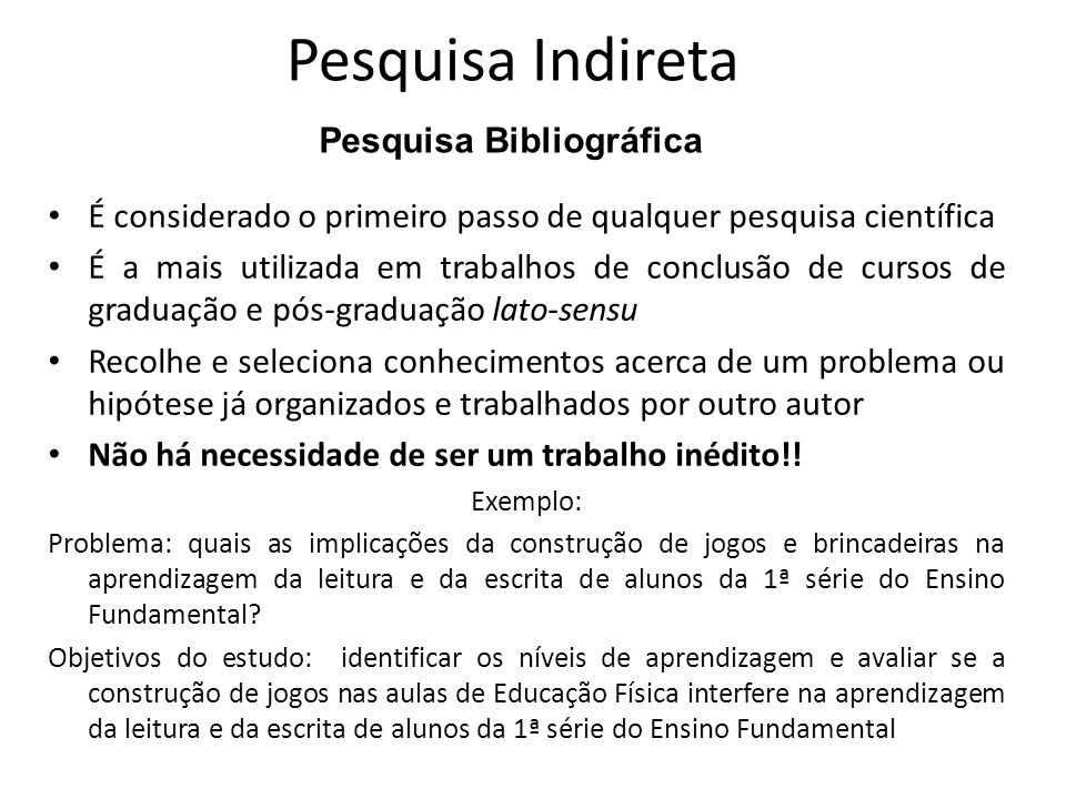 Pesquisa Indireta Pesquisa Bibliográfica