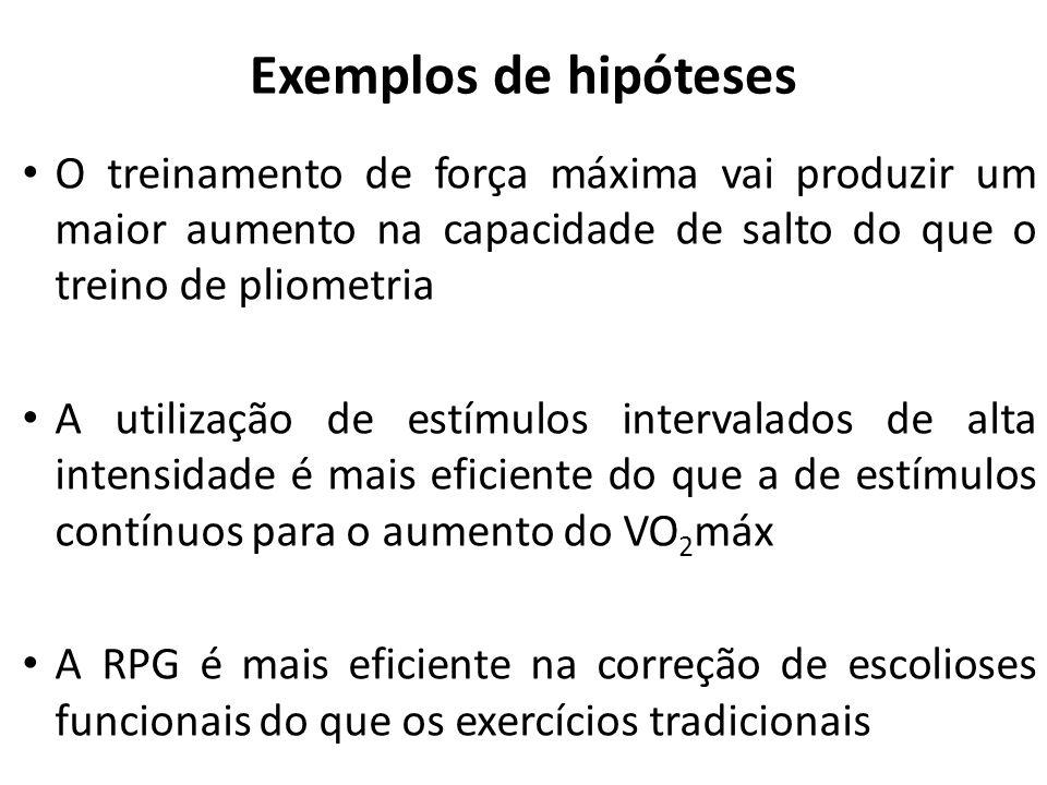 Exemplos de hipóteses O treinamento de força máxima vai produzir um maior aumento na capacidade de salto do que o treino de pliometria.