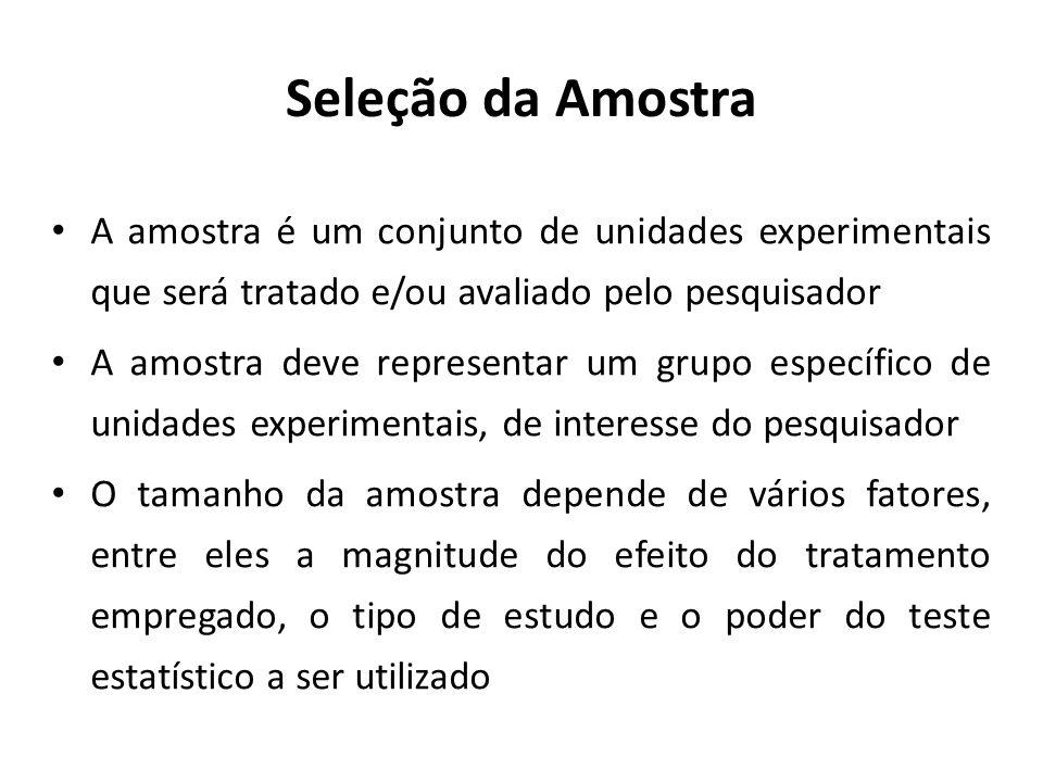 Seleção da AmostraA amostra é um conjunto de unidades experimentais que será tratado e/ou avaliado pelo pesquisador.