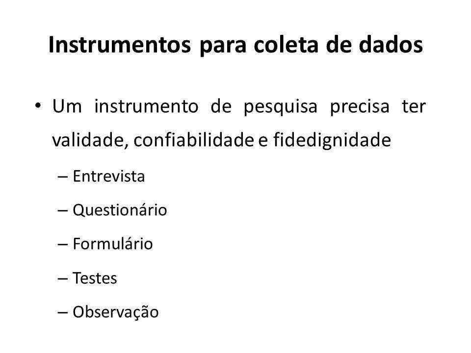 Instrumentos para coleta de dados