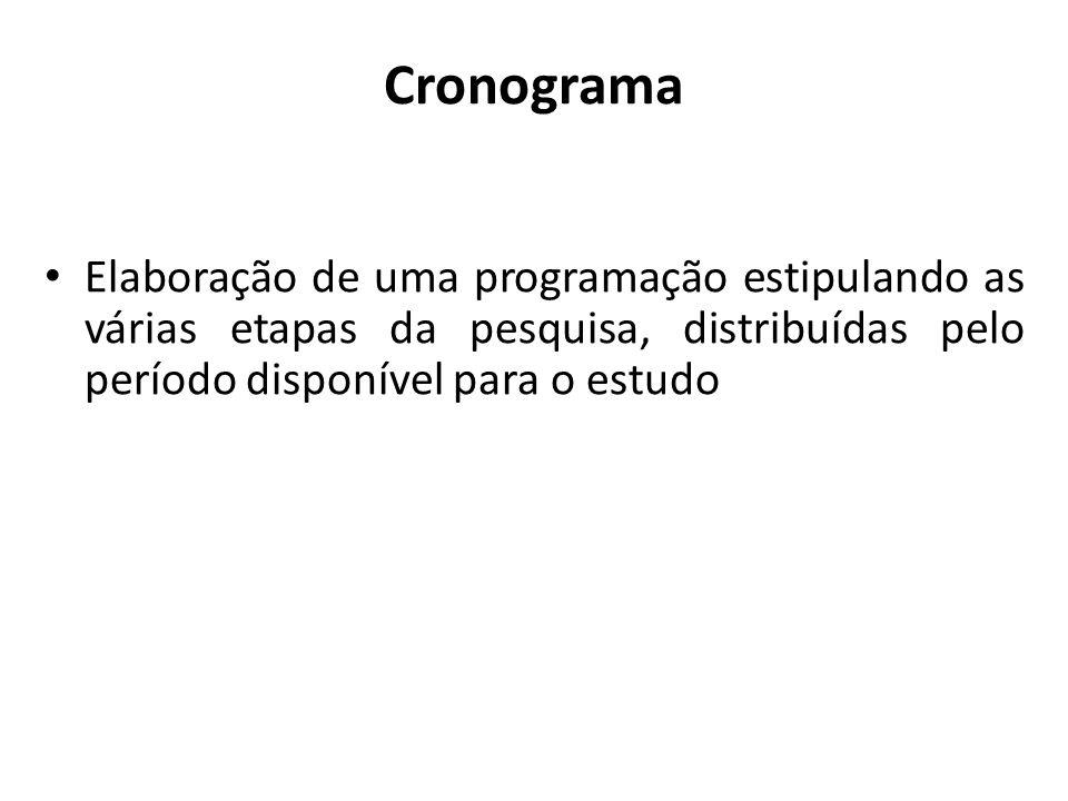 CronogramaElaboração de uma programação estipulando as várias etapas da pesquisa, distribuídas pelo período disponível para o estudo.