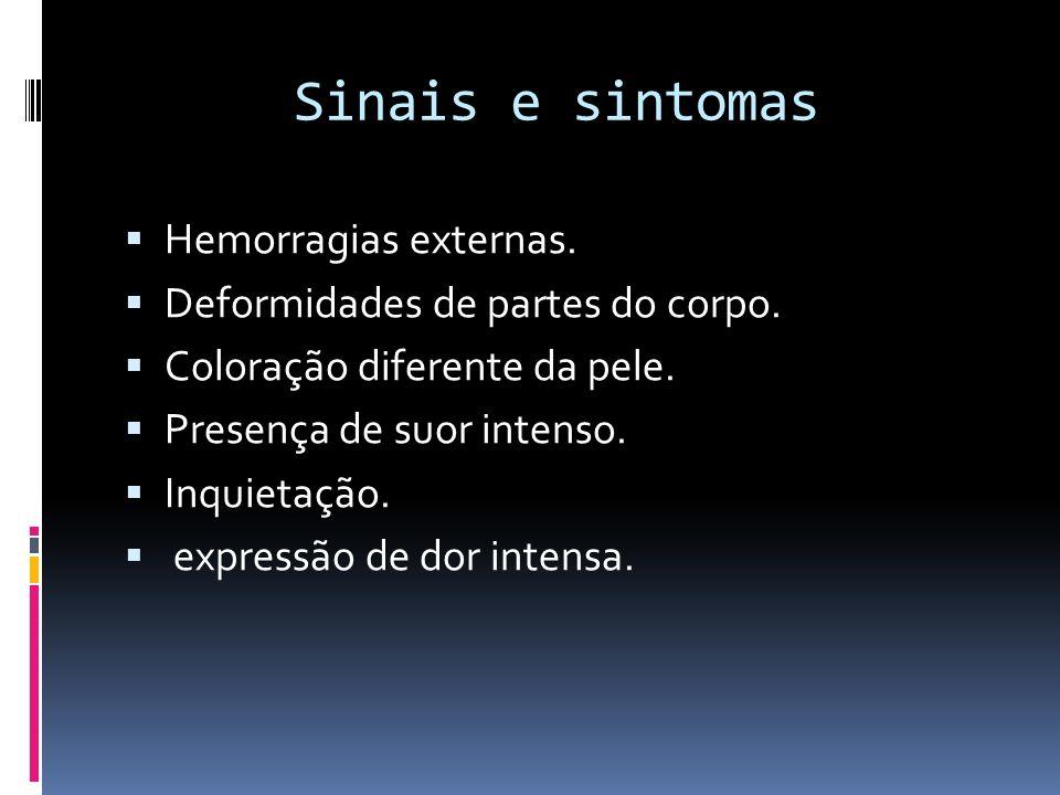 Sinais e sintomas Hemorragias externas.