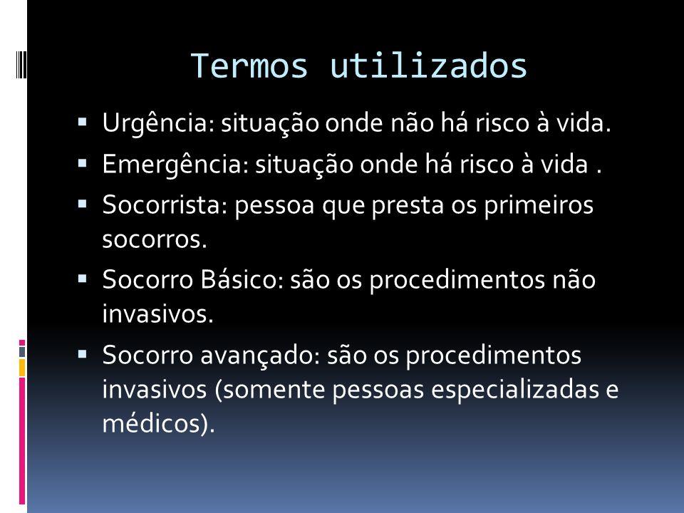 Termos utilizados Urgência: situação onde não há risco à vida.