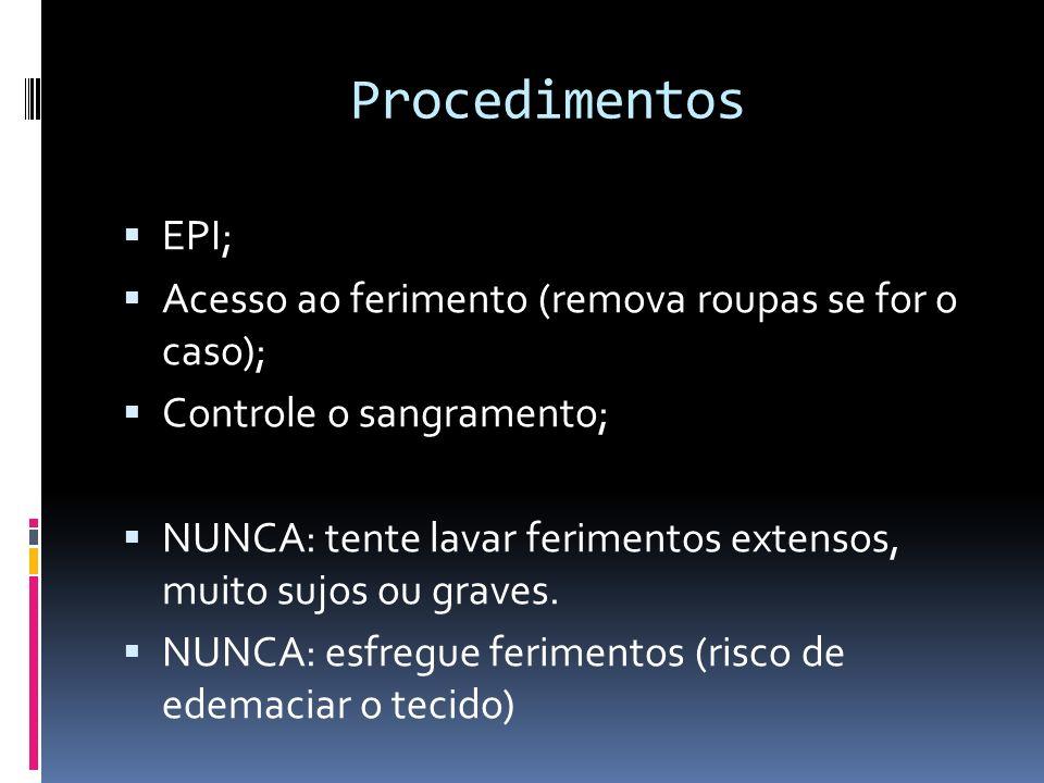 Procedimentos EPI; Acesso ao ferimento (remova roupas se for o caso);