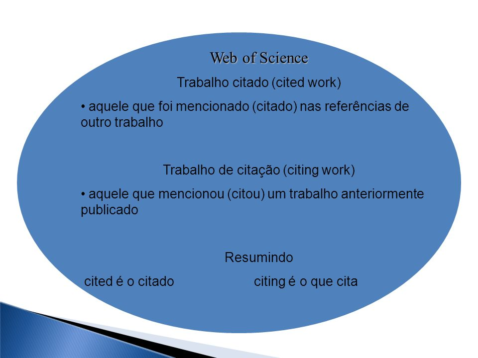 Web of Science Trabalho citado (cited work)