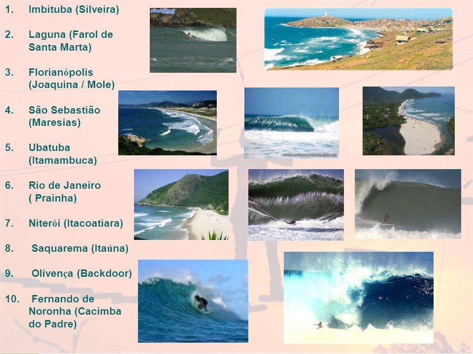 Imbituba (Silveira) Laguna (Farol de Santa Marta) Florianópolis (Joaquina / Mole) São Sebastião (Maresias)