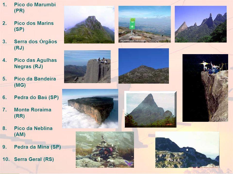 Pico do Marumbi (PR) Pico dos Marins (SP) Serra dos Órgãos (RJ) Pico das Agulhas Negras (RJ) Pico da Bandeira (MG)