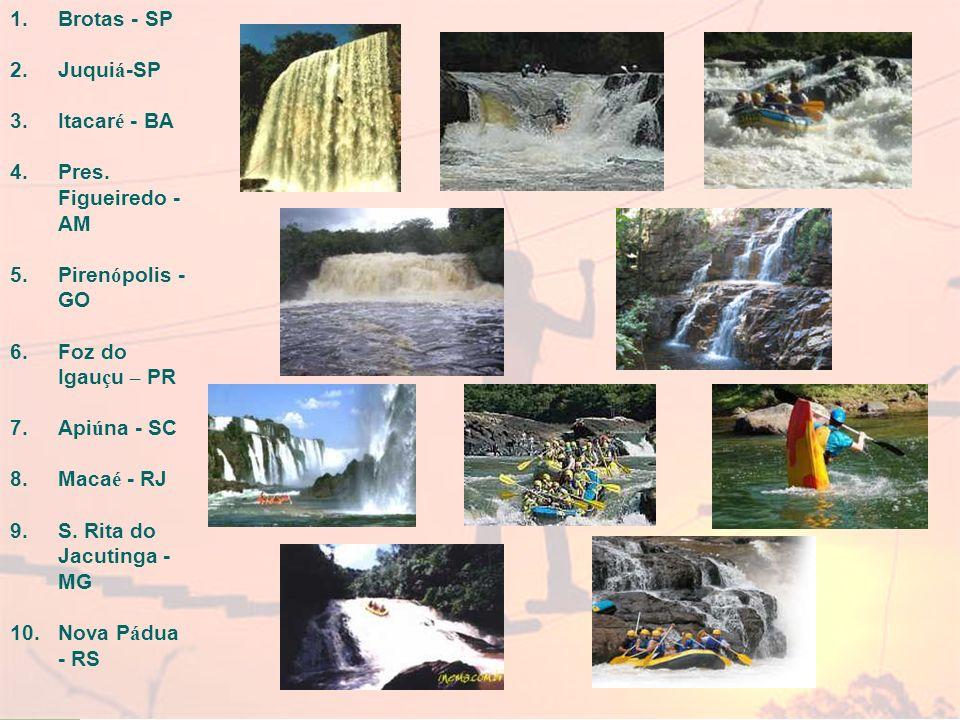 Brotas - SP Juquiá-SP. Itacaré - BA. Pres. Figueiredo - AM. Pirenópolis - GO. Foz do Igauçu – PR.