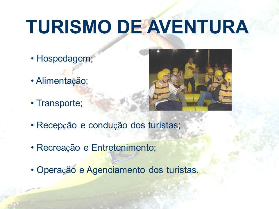 TURISMO DE AVENTURA Hospedagem; Alimentação; Transporte;