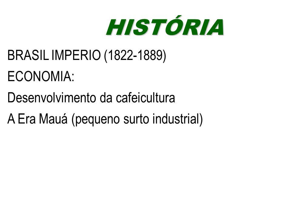 HISTÓRIA BRASIL IMPERIO (1822-1889) ECONOMIA: