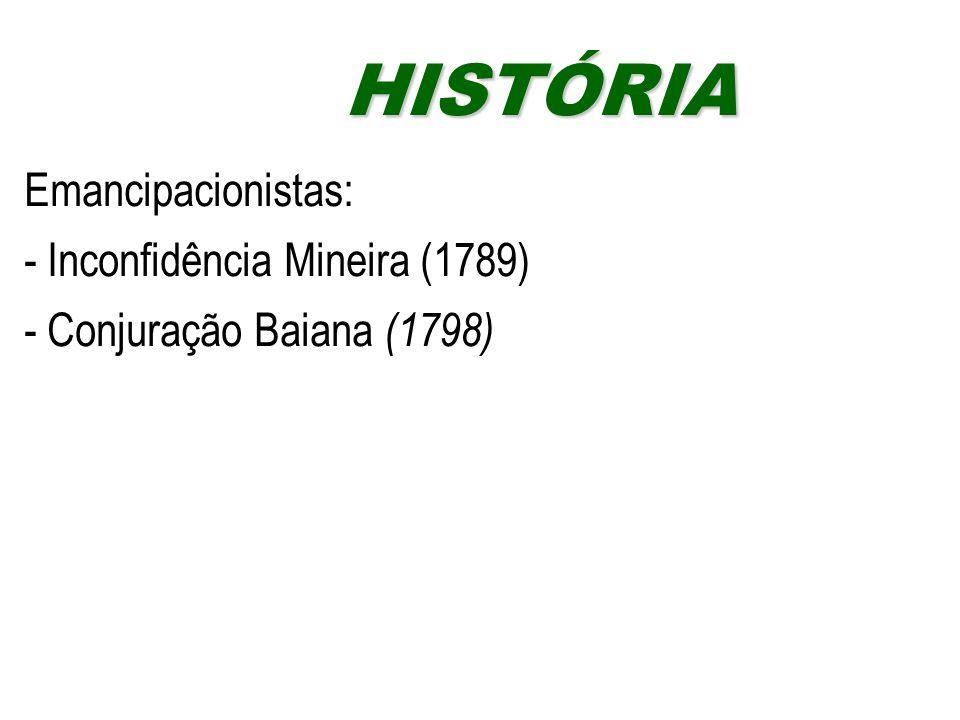 HISTÓRIA Emancipacionistas: - Inconfidência Mineira (1789)