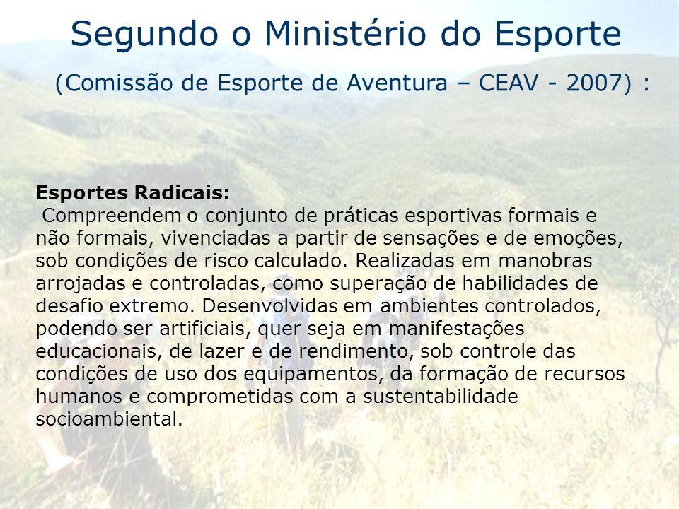 Segundo o Ministério do Esporte (Comissão de Esporte de Aventura – CEAV - 2007) :