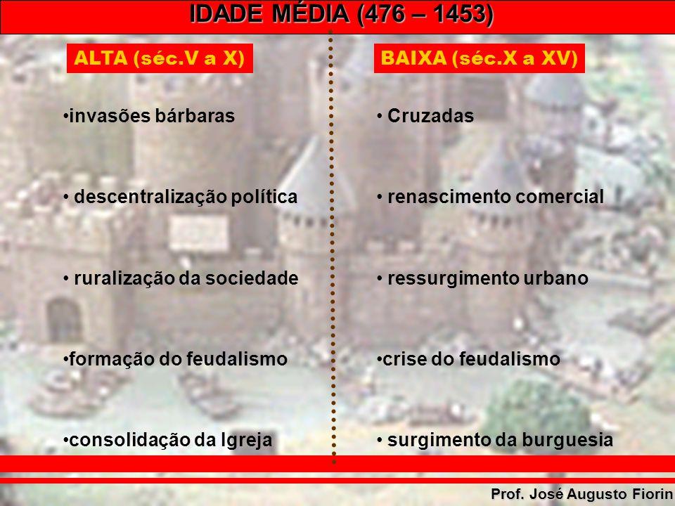 ALTA (séc.V a X) BAIXA (séc.X a XV) invasões bárbaras. descentralização política. ruralização da sociedade.