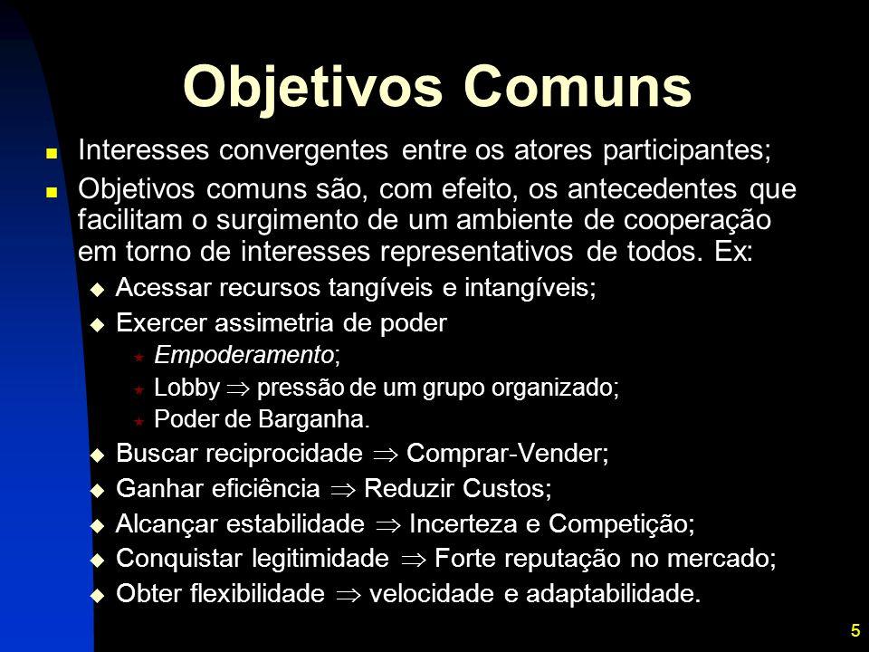 Objetivos Comuns Interesses convergentes entre os atores participantes;
