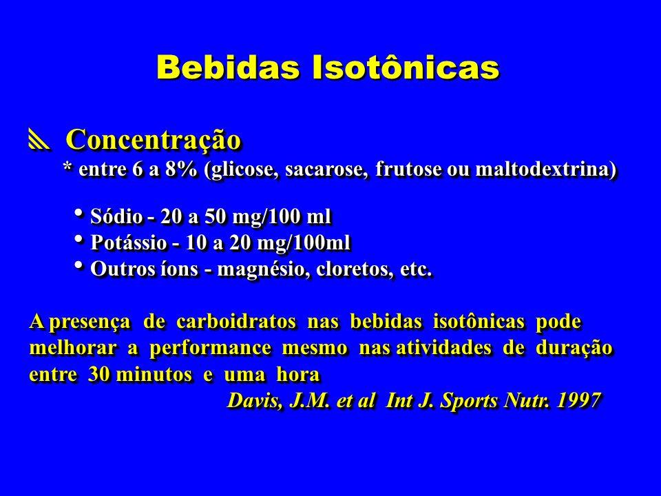 Bebidas Isotônicas  Concentração