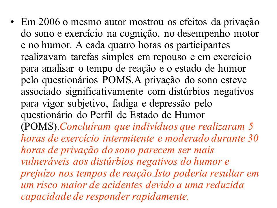 Em 2006 o mesmo autor mostrou os efeitos da privação do sono e exercício na cognição, no desempenho motor e no humor.