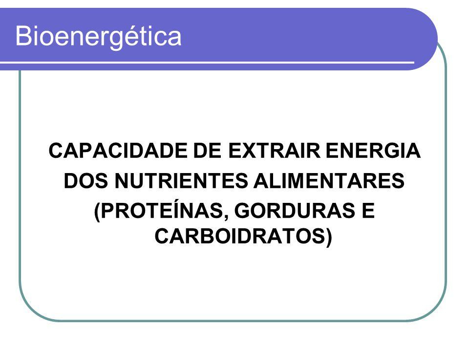 Bioenergética CAPACIDADE DE EXTRAIR ENERGIA DOS NUTRIENTES ALIMENTARES