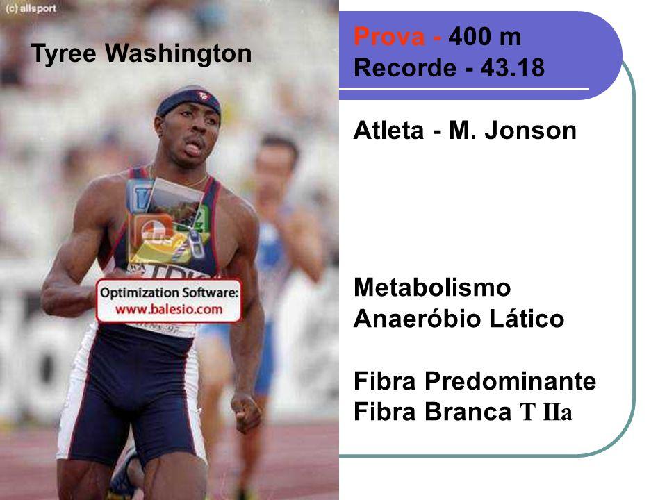 Prova - 400 m Recorde - 43.18. Atleta - M. Jonson. Tyree Washington. Metabolismo. Anaeróbio Lático.