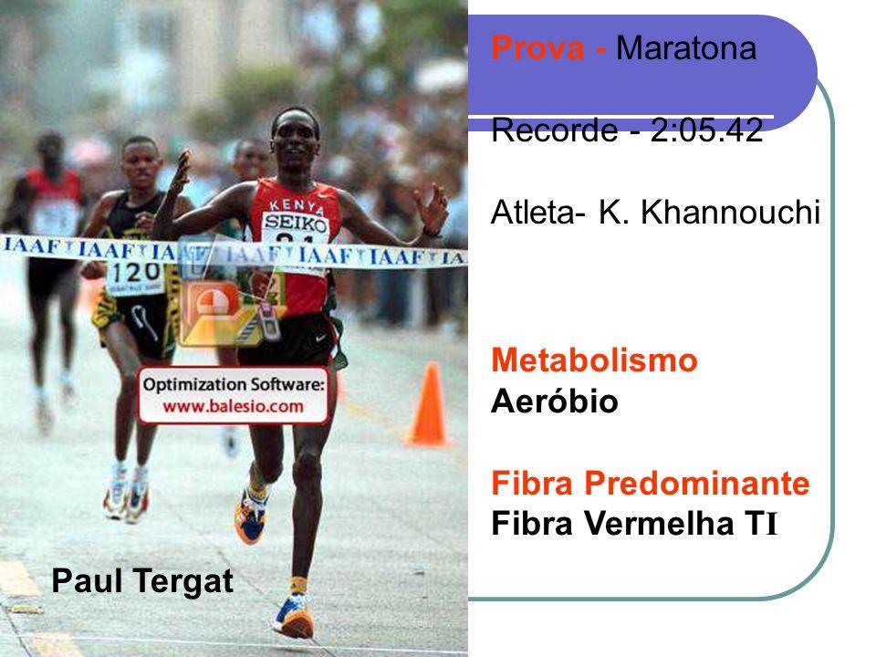 Prova - Maratona Recorde - 2:05.42. Atleta- K. Khannouchi. Metabolismo. Aeróbio. Fibra Predominante.