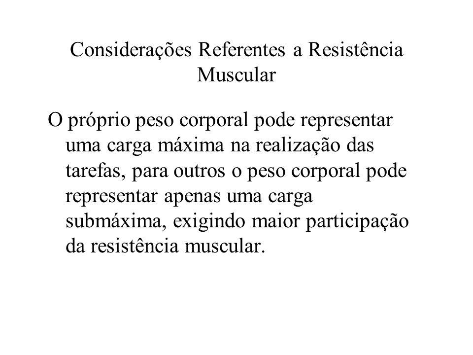 Considerações Referentes a Resistência Muscular