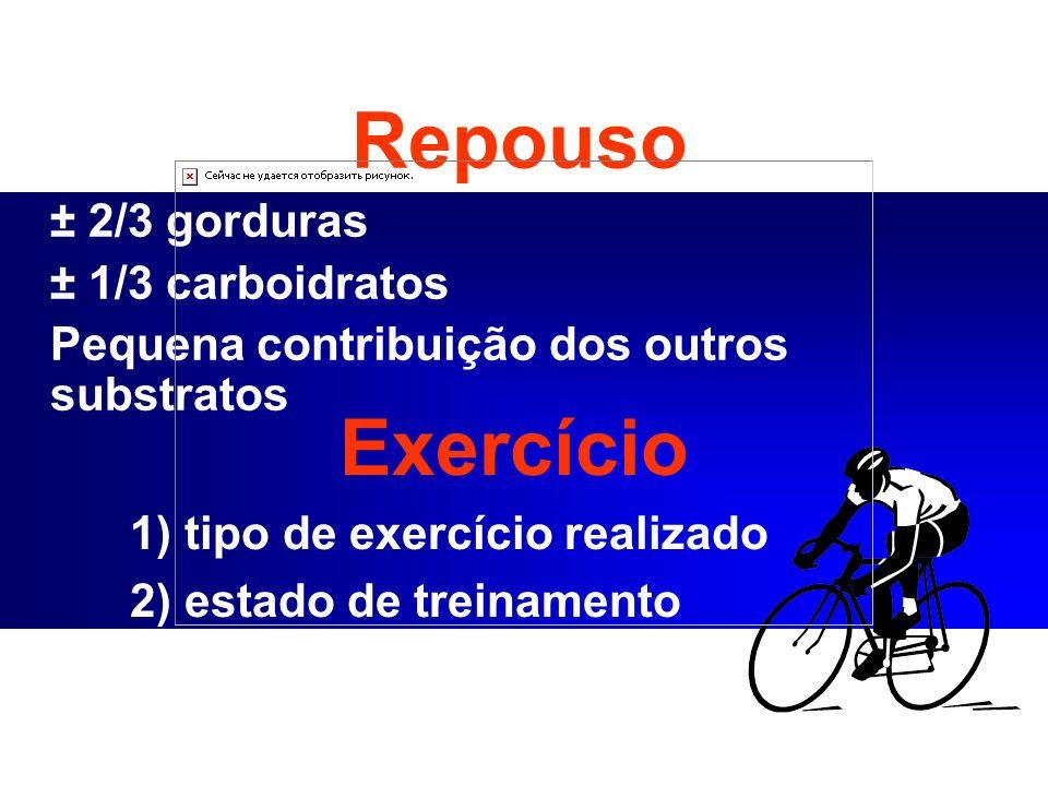 Exercício Repouso ± 2/3 gorduras ± 1/3 carboidratos