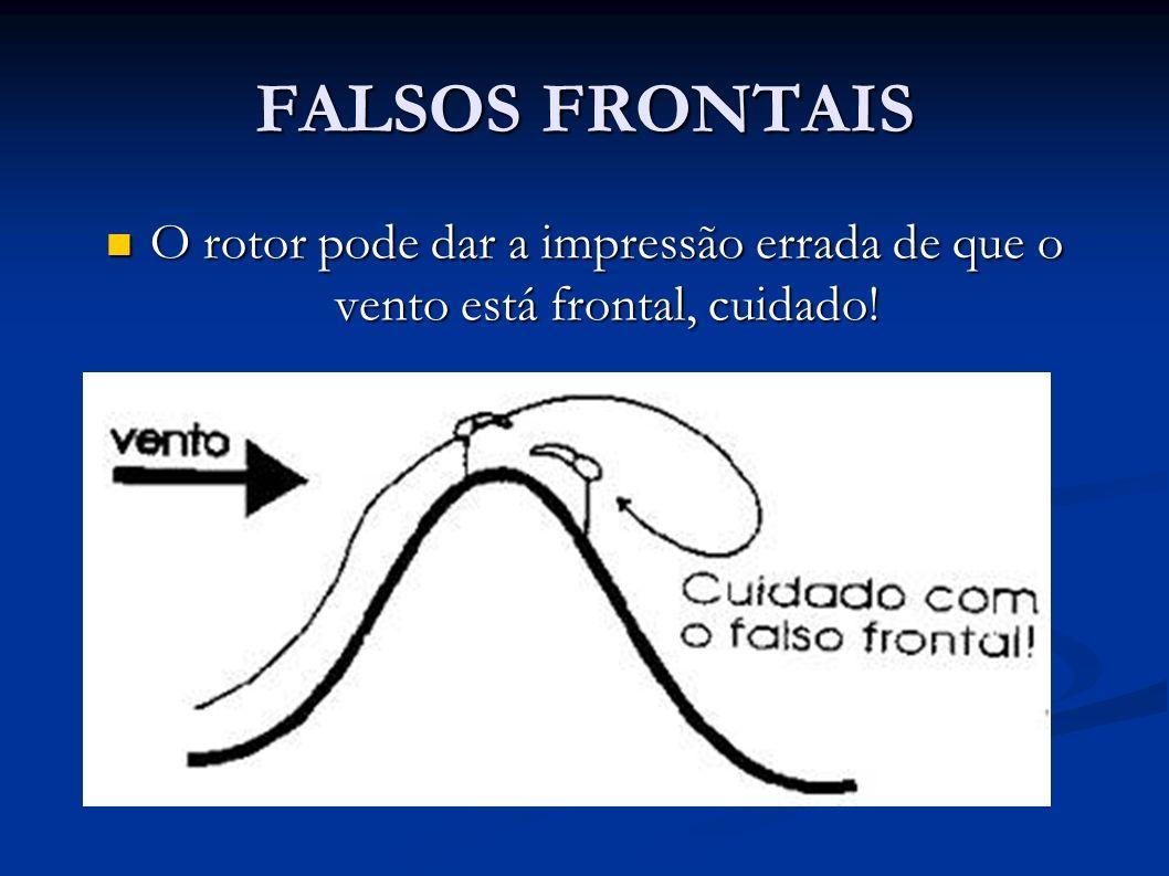 FALSOS FRONTAIS O rotor pode dar a impressão errada de que o vento está frontal, cuidado!