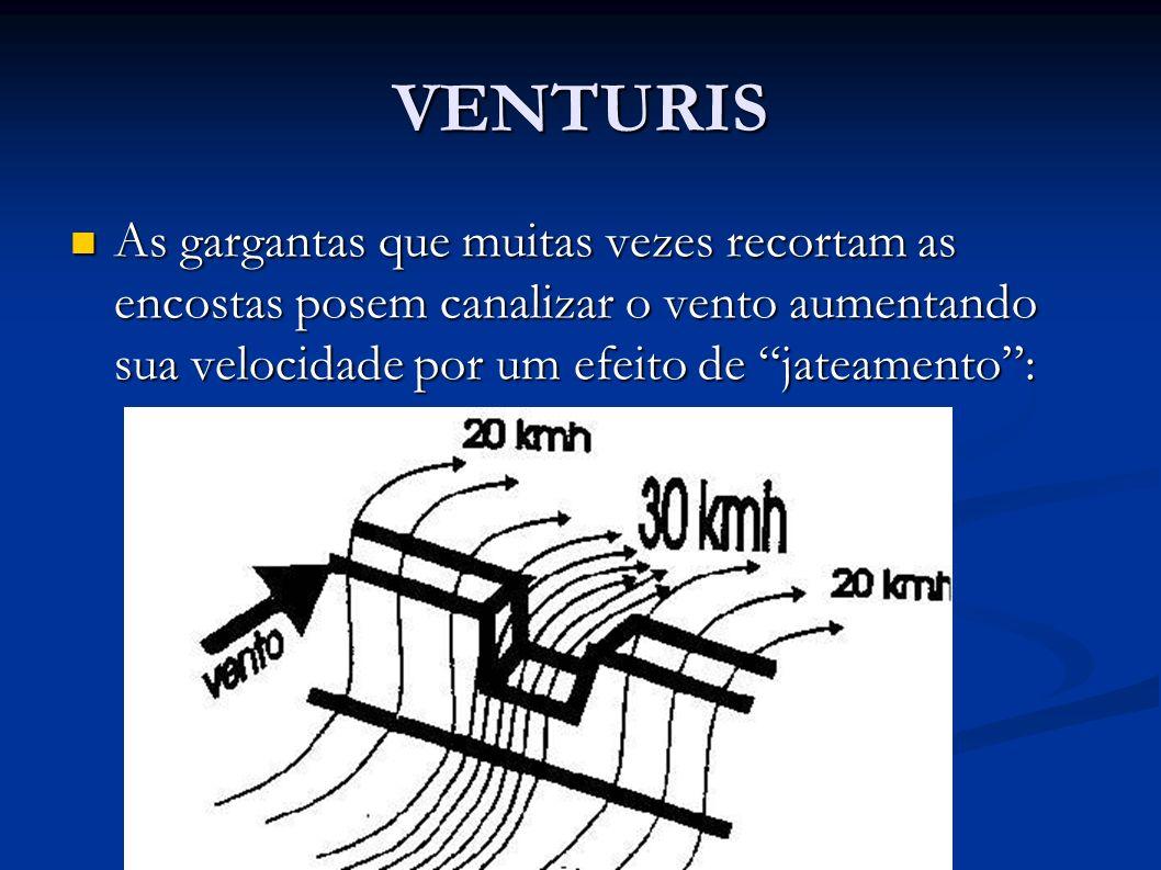 VENTURIS As gargantas que muitas vezes recortam as encostas posem canalizar o vento aumentando sua velocidade por um efeito de jateamento :