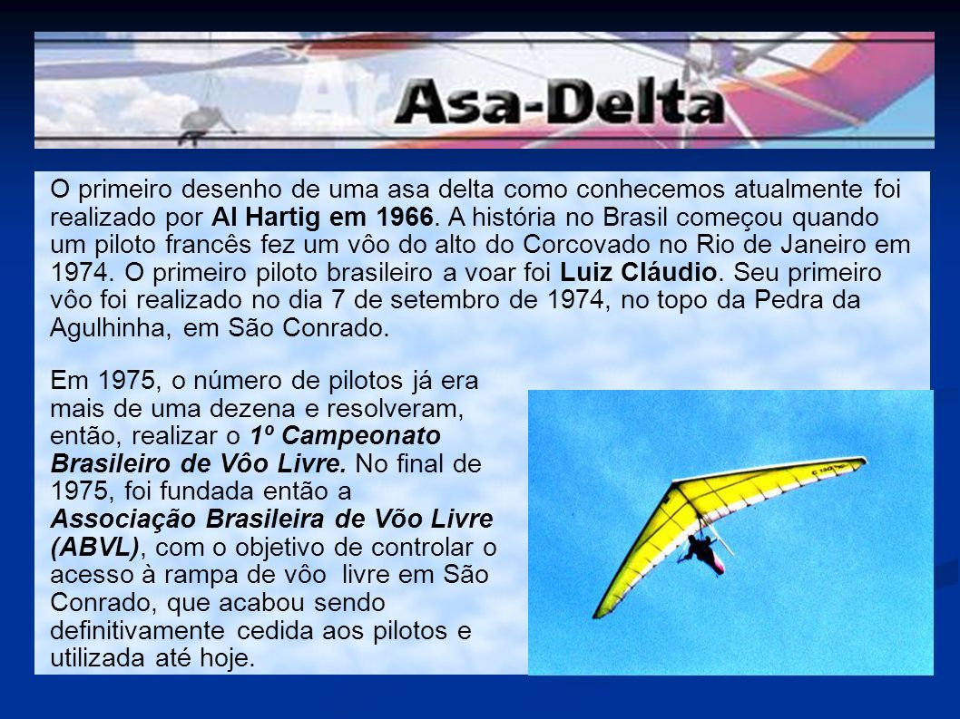 O primeiro desenho de uma asa delta como conhecemos atualmente foi realizado por Al Hartig em 1966. A história no Brasil começou quando um piloto francês fez um vôo do alto do Corcovado no Rio de Janeiro em 1974. O primeiro piloto brasileiro a voar foi Luiz Cláudio. Seu primeiro vôo foi realizado no dia 7 de setembro de 1974, no topo da Pedra da Agulhinha, em São Conrado.