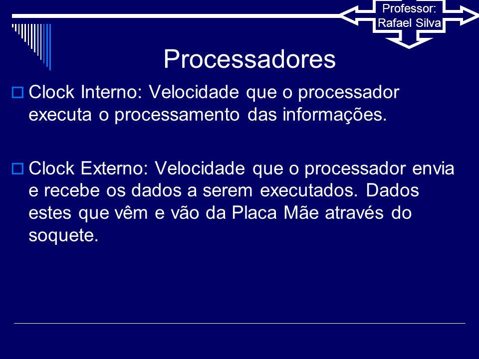Processadores Clock Interno: Velocidade que o processador executa o processamento das informações.