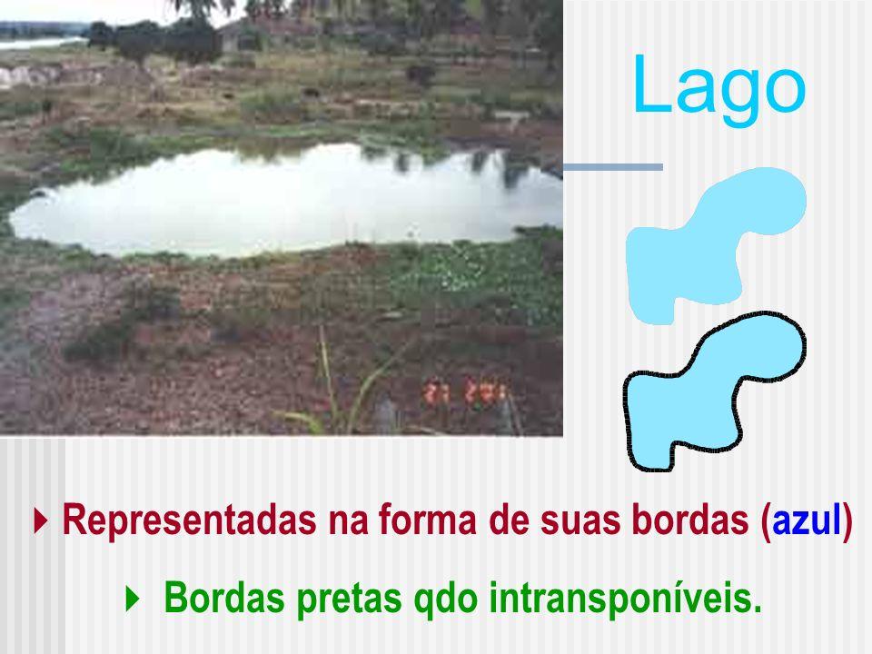 Lago Representadas na forma de suas bordas (azul)