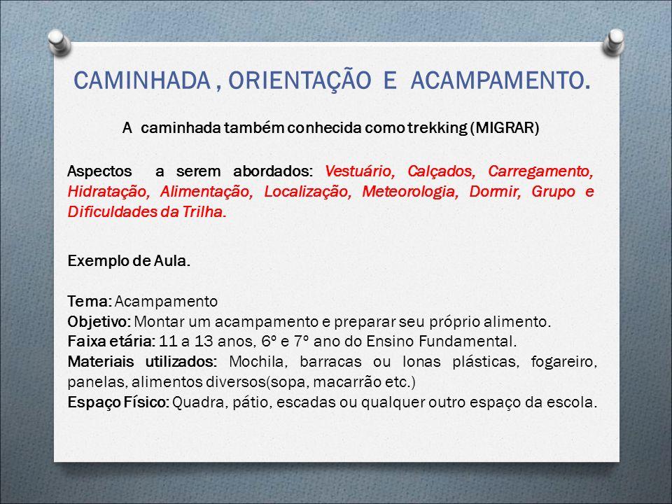 CAMINHADA , ORIENTAÇÃO E ACAMPAMENTO.