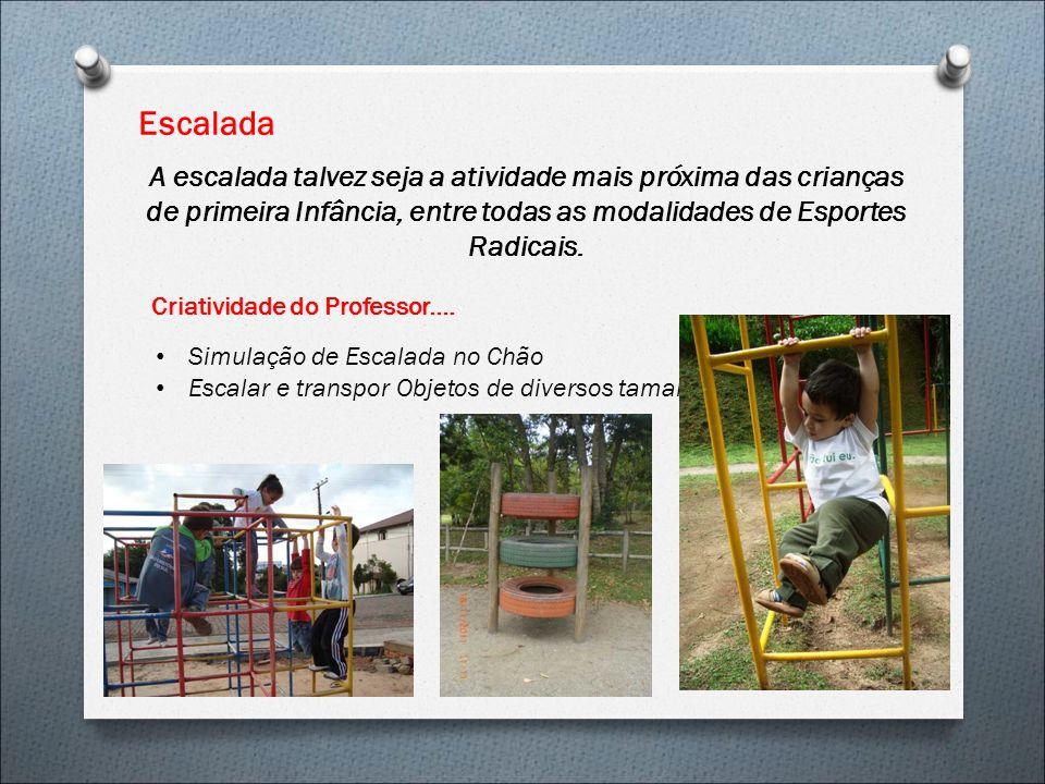 Escalada A escalada talvez seja a atividade mais próxima das crianças de primeira Infância, entre todas as modalidades de Esportes Radicais.
