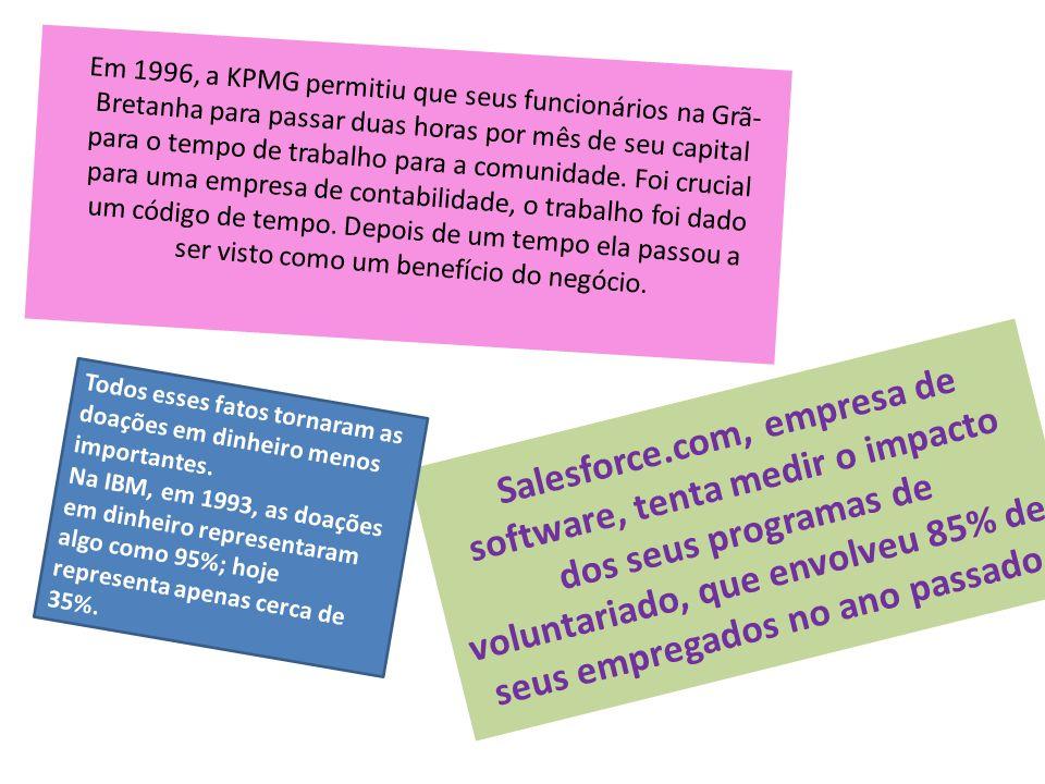 Em 1996, a KPMG permitiu que seus funcionários na Grã-Bretanha para passar duas horas por mês de seu capital para o tempo de trabalho para a comunidade. Foi crucial para uma empresa de contabilidade, o trabalho foi dado um código de tempo. Depois de um tempo ela passou a ser visto como um benefício do negócio.
