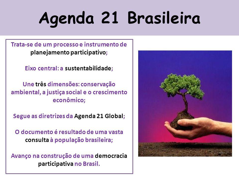 Agenda 21 Brasileira Trata-se de um processo e instrumento de planejamento participativo; Eixo central: a sustentabilidade;