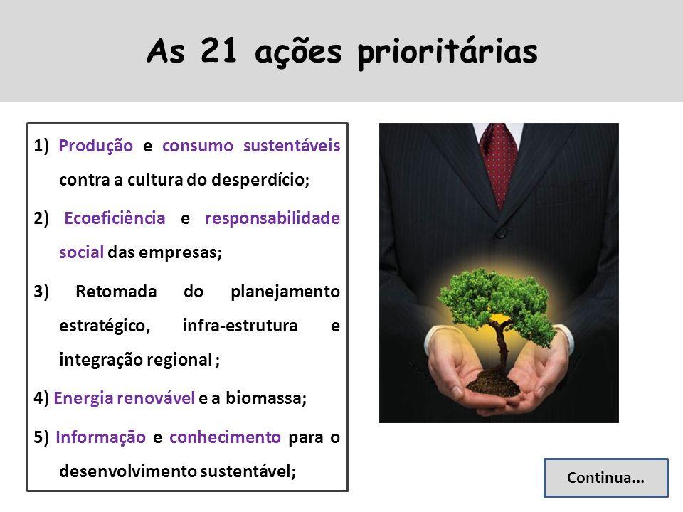 As 21 ações prioritárias 1) Produção e consumo sustentáveis contra a cultura do desperdício;