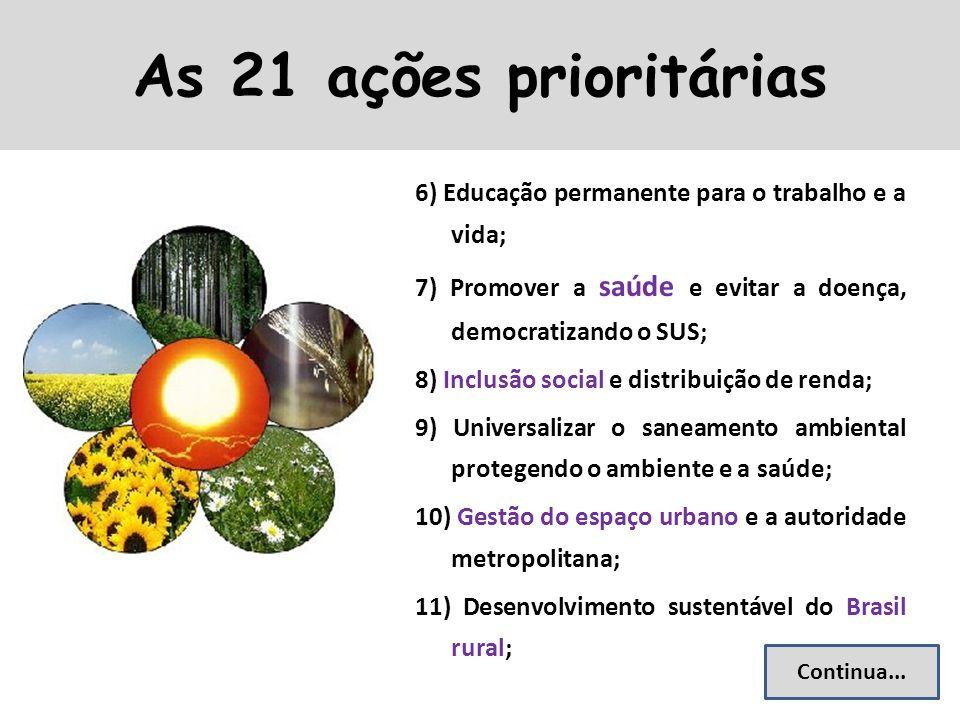 As 21 ações prioritárias 6) Educação permanente para o trabalho e a vida; 7) Promover a saúde e evitar a doença, democratizando o SUS;