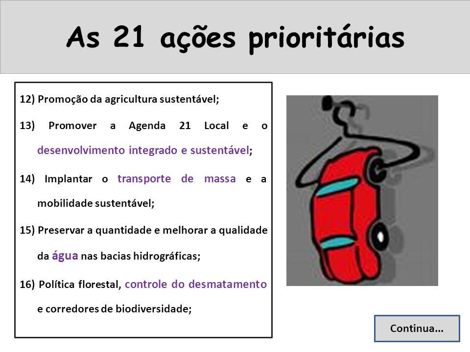 As 21 ações prioritárias