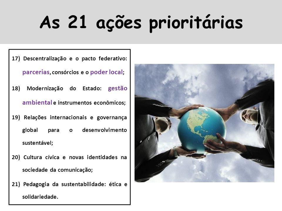 As 21 ações prioritárias 17) Descentralização e o pacto federativo: parcerias, consórcios e o poder local;