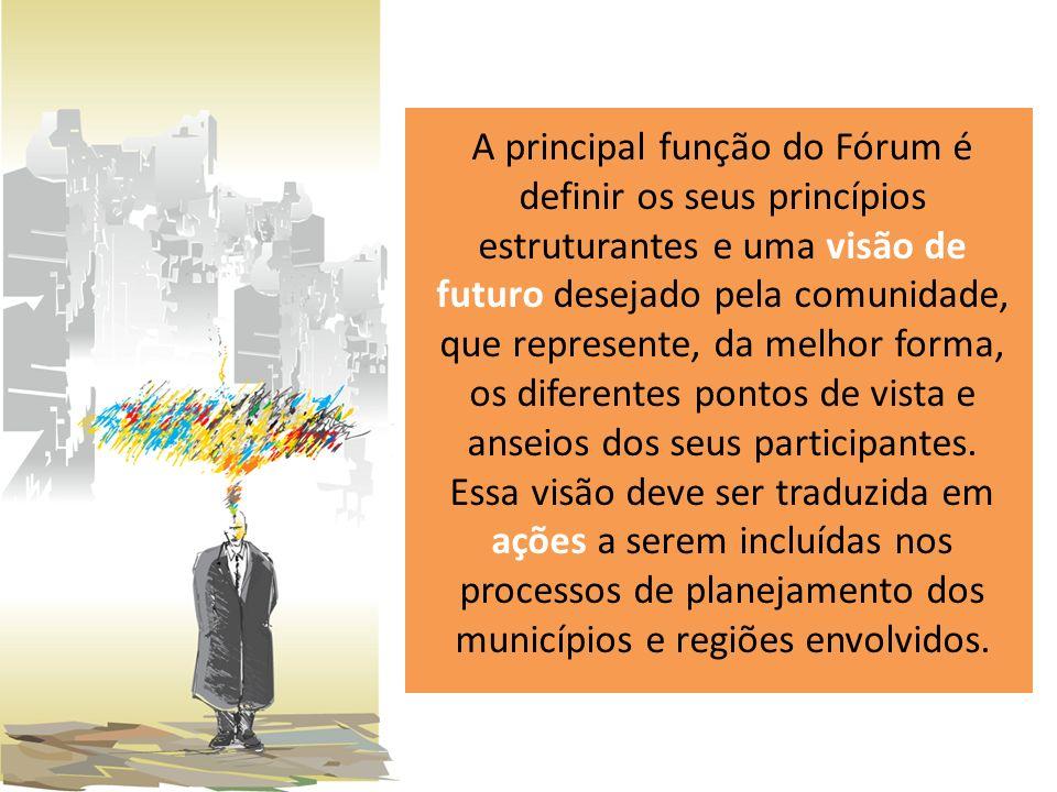 A principal função do Fórum é definir os seus princípios estruturantes e uma visão de futuro desejado pela comunidade, que represente, da melhor forma, os diferentes pontos de vista e anseios dos seus participantes.