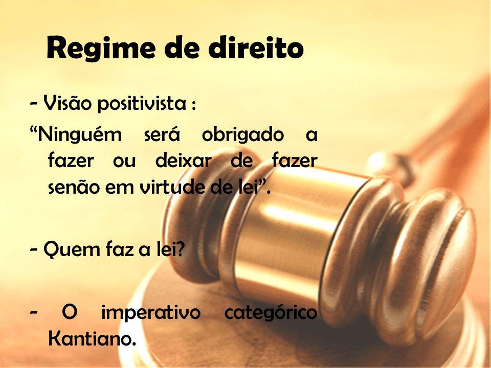 Regime de direito - Visão positivista :