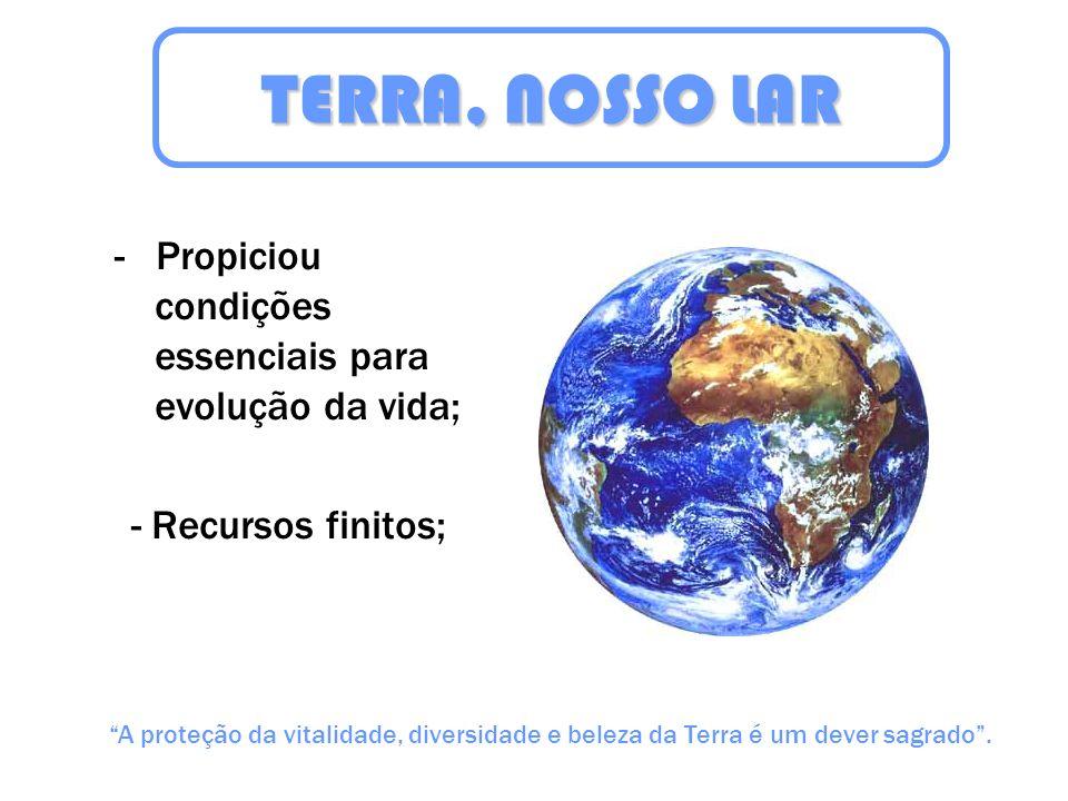 TERRA, NOSSO LAR - Propiciou condições essenciais para evolução da vida; - Recursos finitos;