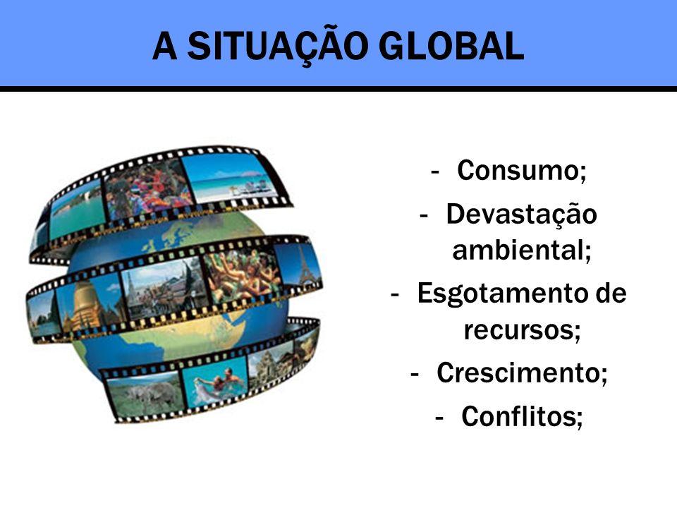 A SITUAÇÃO GLOBAL Consumo; Devastação ambiental;